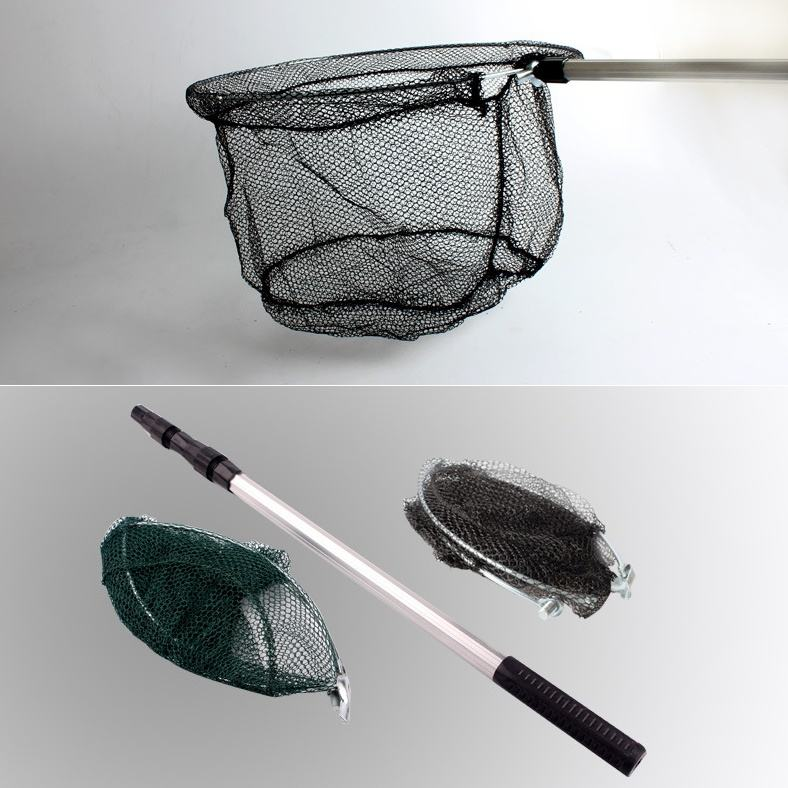Peche 176cm Three Section Black Telescopic Aluminum Alloy Hand Net Fishing Tackle Fishing Nets