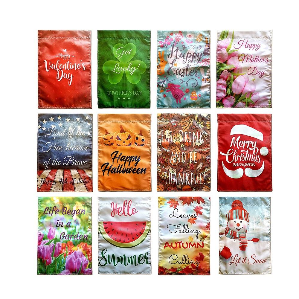 2019 Hot Sale 12x18 Beautiful 3D Waterproof Double Side Protective Insert Garden Flags Set Of 12 Holiday and Season
