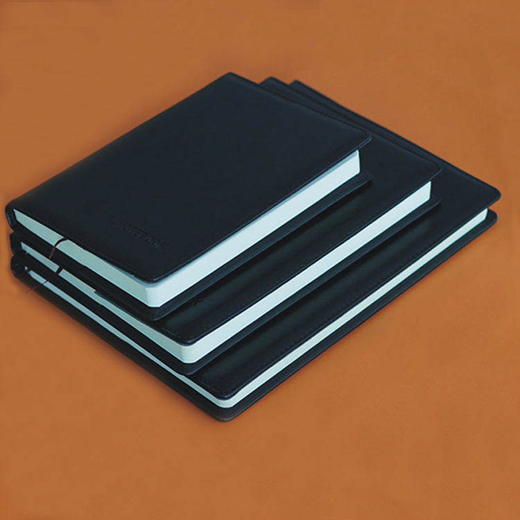 Promotional custom size black genuine notebook leather