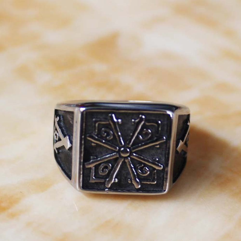 stainless steel sterling black ring with masonic sign