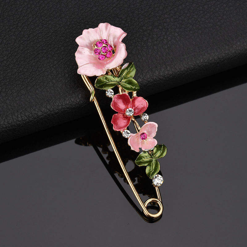 large scarf pin brooches fashion flower crystal bouquet brooch for women saree coat brooch pins