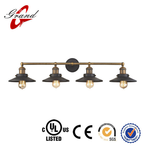 Made in zhongshan Guzhen English Pub Antique Brass and Tarnished Graphite 38-Inch Four-Light Vanity