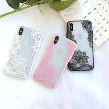 Case For iPhone 6S 6 7 8 Plus XS Max Cover 3D Lace Flower Phone Shell For iPhone 5S 5 SE X 10 Floral Cases 20g