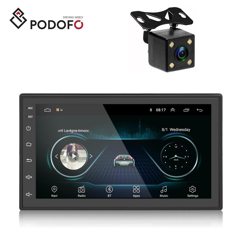 "Podofo Android 9.1 Car Radio Video 2 Din GPS Stereo 7"" Car MP5 Player WIFI Bluetooth FM Receiver + Rear Camera"