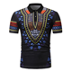 Polyester Printed Short sleeved African Turkish National Style black polo shirts men