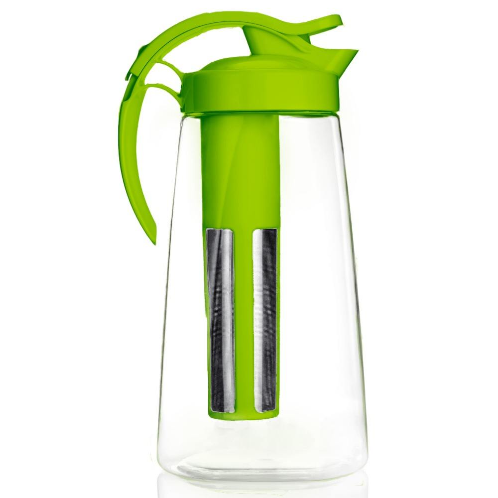 2.2L Household Water Pot Plastic Tea Filter Pitcher with Stainless Steel Tea Strainer