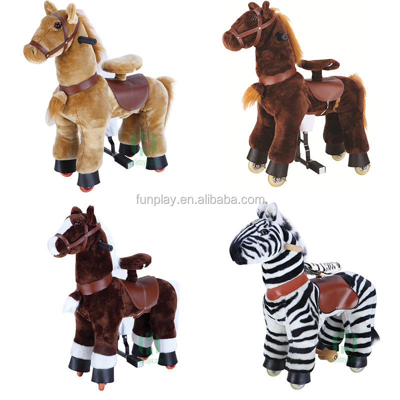 HI animal ride mechanical plush animal ride on horse toy with wheels for kids