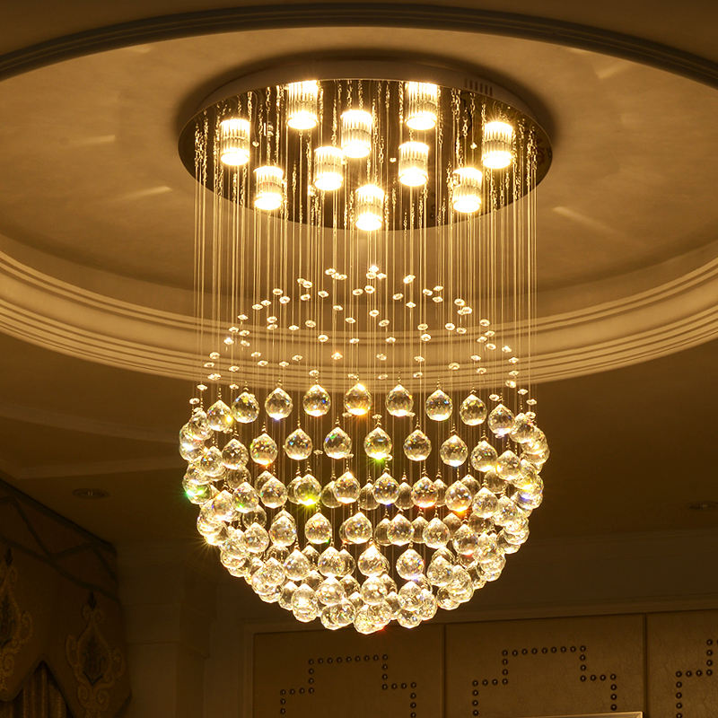 Round shade hanging light led crystal ceiling chandelier lamps for hotel room decor ETL60423