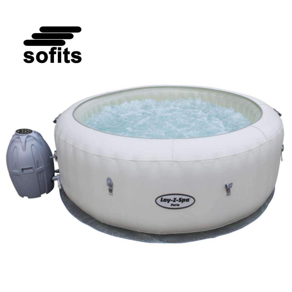 Bestway 54148 Lay-Z-Spa Paris inflatable and portable round hot tub spa led