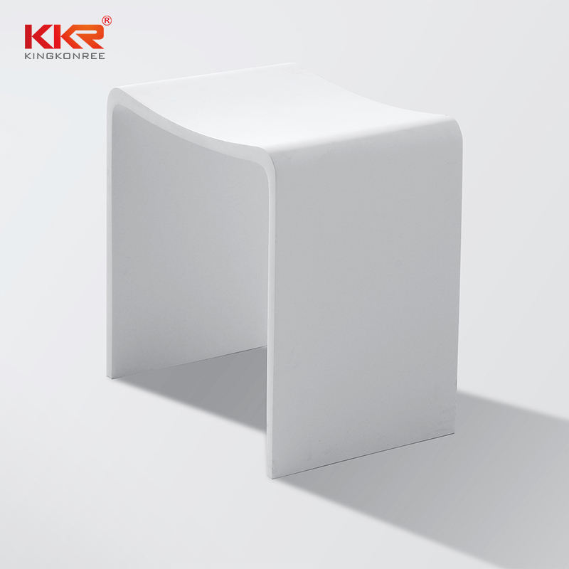Hotel furniture bathroom sanitary acrylic solid surface pure white stone shower stools