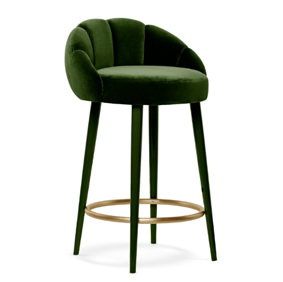Emerald Cotton Velvet Counter/bar Stool with gloss lacquer legs and brushed brass ring restaurant furniture