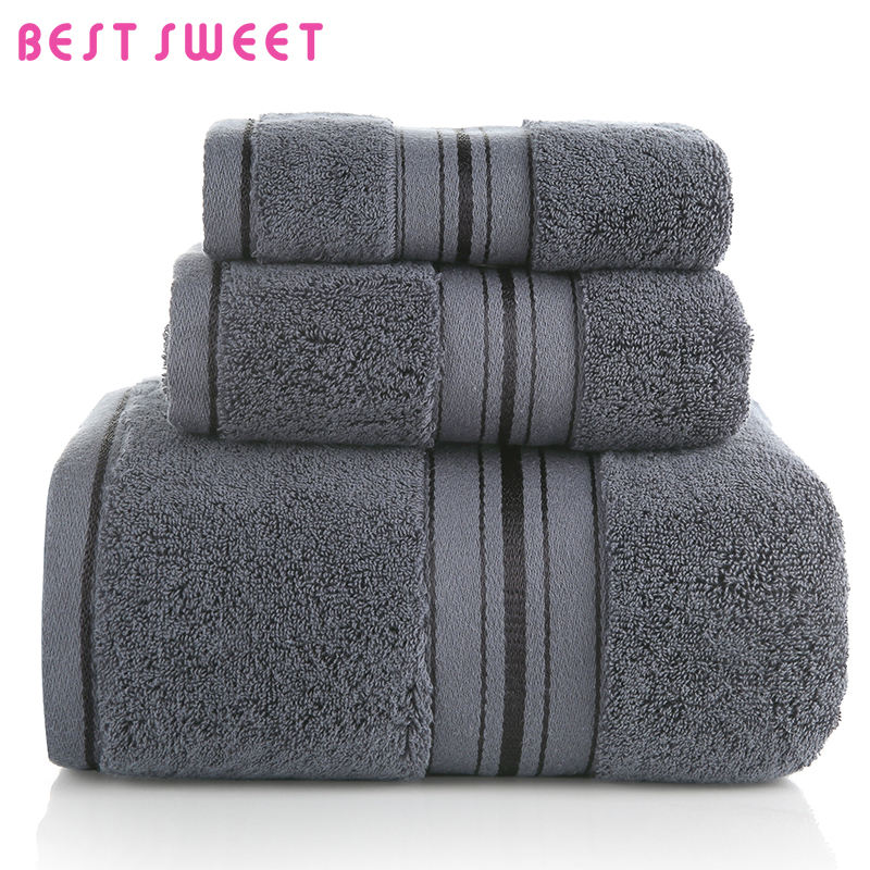 3 Pieces 100% Cotton Hotel Towel Set 5 Star Logo Bath Towel For Sale