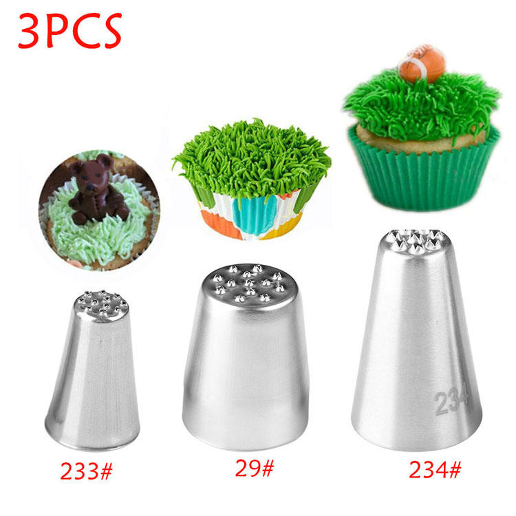 Grass Cream Icing Nozzles Stainless Steel Pastry Fury Decoration Cupcake Head Cake Decorating Tools Pastry Tools