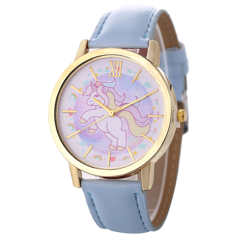 Fashion Unicorn Print Kid Quartz Watch Cute Animal Analog Alloy Quartz Wrist Watches