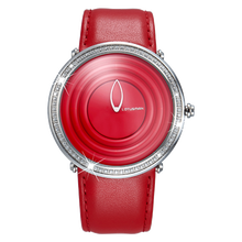 Red new design fashion girls watch all stainless steel new concept watch
