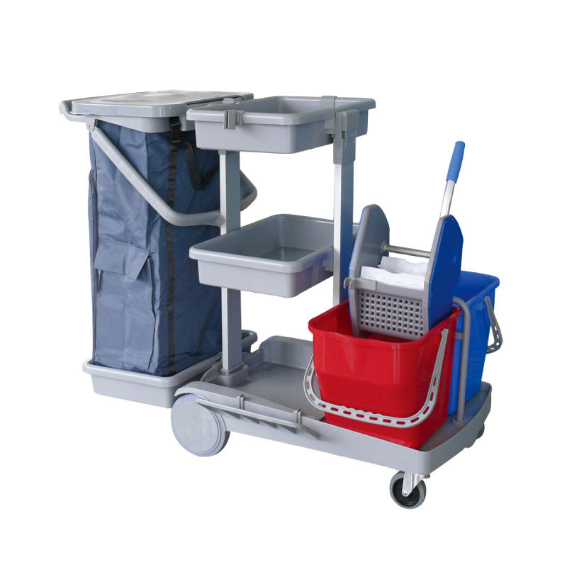 New Material Plastic Down-Press Cleaning Trolley Janitorial Carts for Hotel, Airport,Shopping Mall Use
