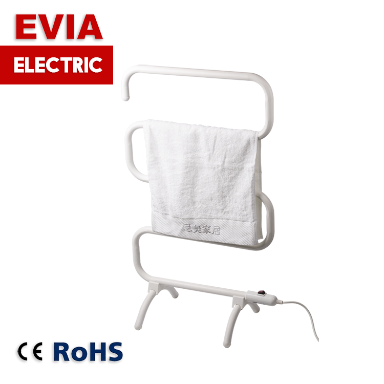 S type steel floor standing towel warmer heated towel rail electric towel dryer rack for bathroom