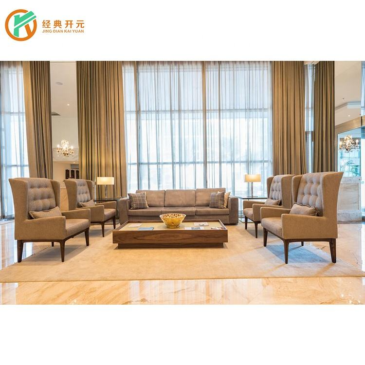 IDM-308 5 Star Hotel Living Room Sofa Wooden Hotel Lobby Furniture