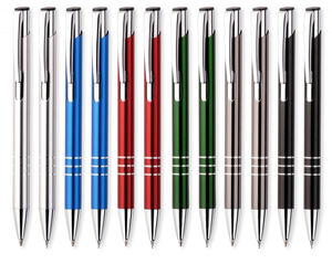 Custom Colorful Metal Ballpoint Pen With Laser Logo For Promotional Office Usage