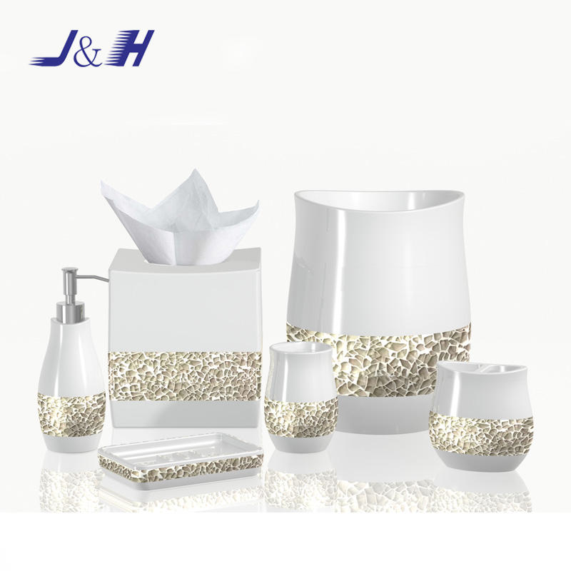 Mosaic Crackle Glass White Polyresin Bathroom Accessory Set