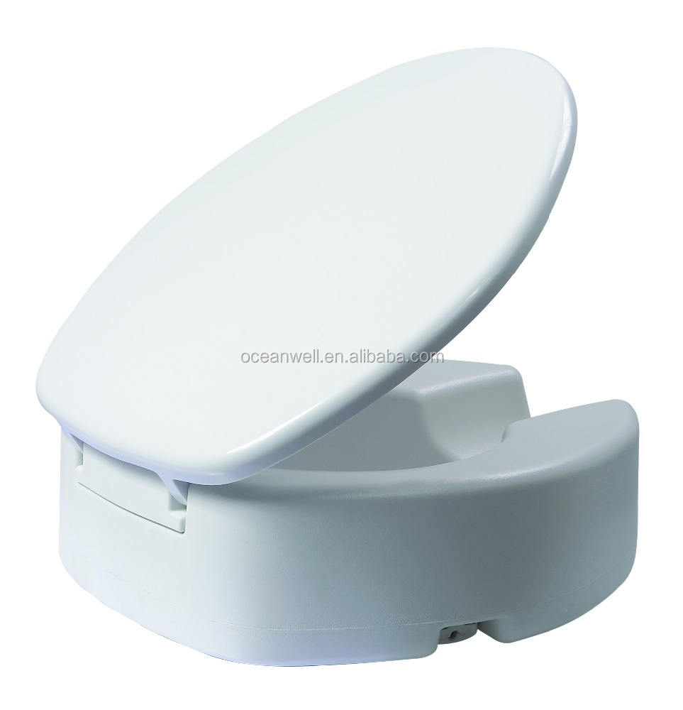 Duroplast raised toilet seat with cover for handicapped people