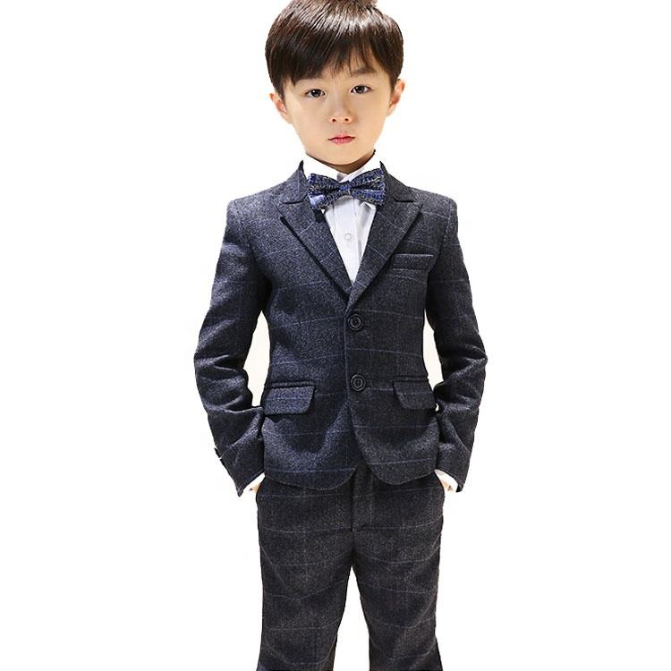 2019 high end fabric plaid checked formal wedding tailored kids suit for boys children