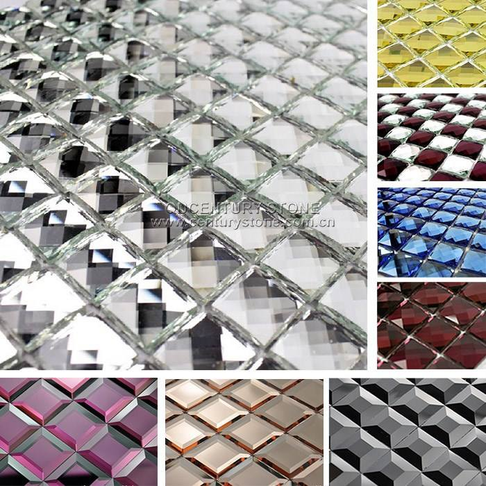 13 Facet Beveled Glass Silver and Purple beautiful Diamond Mosaic Mirror Tile Sheet