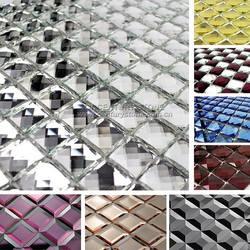13 Facet Beveled Glass Silver and Purple beautiful Diamond Mosaic Mirror Tile Sheet