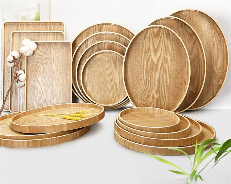 Japanese wooden pallet tray tray rectangular / round family hotel baking bread plate cupboard tray