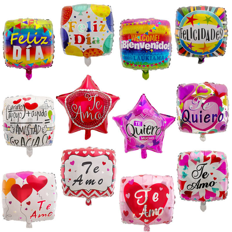Hot Sale 18inch Spanish Language Square Foil Balloon Star Shape Balloon for party decoration birthday wedding balon