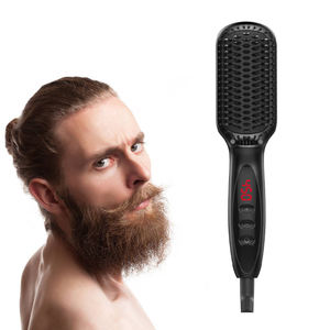Electric Multifunctional Professional Quick Hair Styler Men Beard & Mustache Hair Curling Iron Straightener Brush and Comb