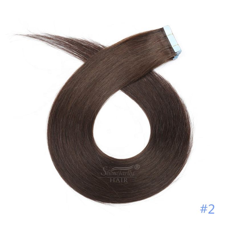 Chinese manufacturer wholesale double draw #2 color indian tape hair extensions