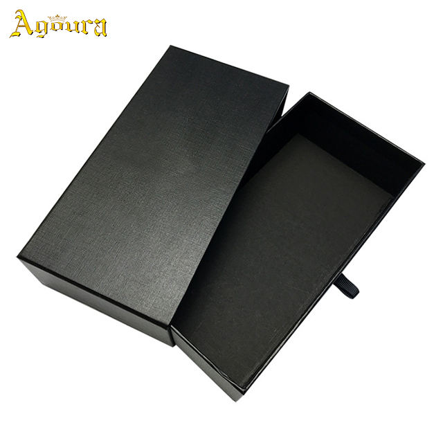 Elegent black hardcover packaging box high quality customized hard pull out sunglasses paper gift box