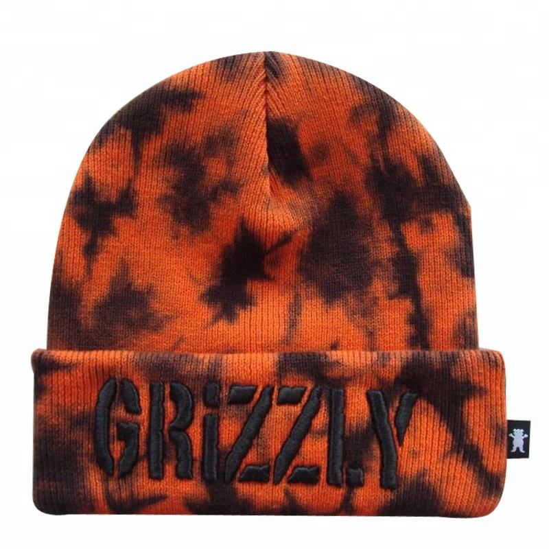 Custom Design You Own Embroidery Logo Tie Dye Knitted Hats Unisex Wholesale Cuffed Orange Slouch Beanie Hat
