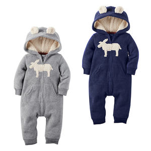 Großhandel Warme Baby Kleidung Winter Langarm Flanell Baby Body Tiere Mit Kapuze Strampler