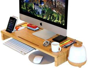Bambu Laptop standı ve masa klavye depolama ve IPad Tablet cep telefonu iMac LCD TV PC monitörü standları