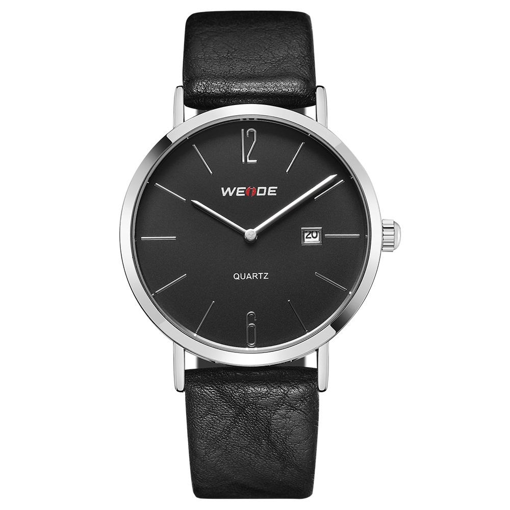WEIDE WD007 New fashion simple design Men's Gender ultra thin dial wrist watch PU leather strap watches