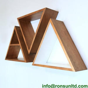 Diy wood shelving triangle corner home modern wall shelf decorations for sale