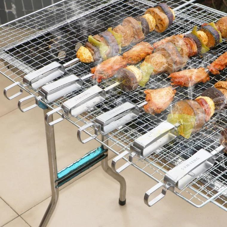 6 pcs 14in In Acciaio Inox Metallo Grigliate Spiedini con Cursore BARBECUE Shish Kebab Spiedino Sticks Set