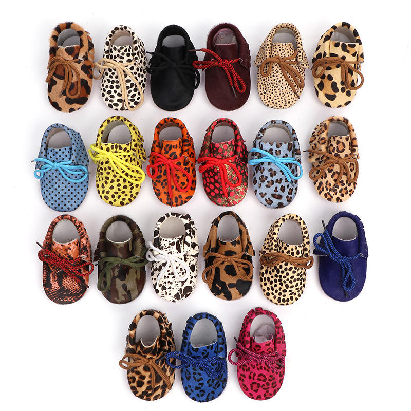 Wholesale baby lace shoes leopard pattern boy girls toddler leather shoes