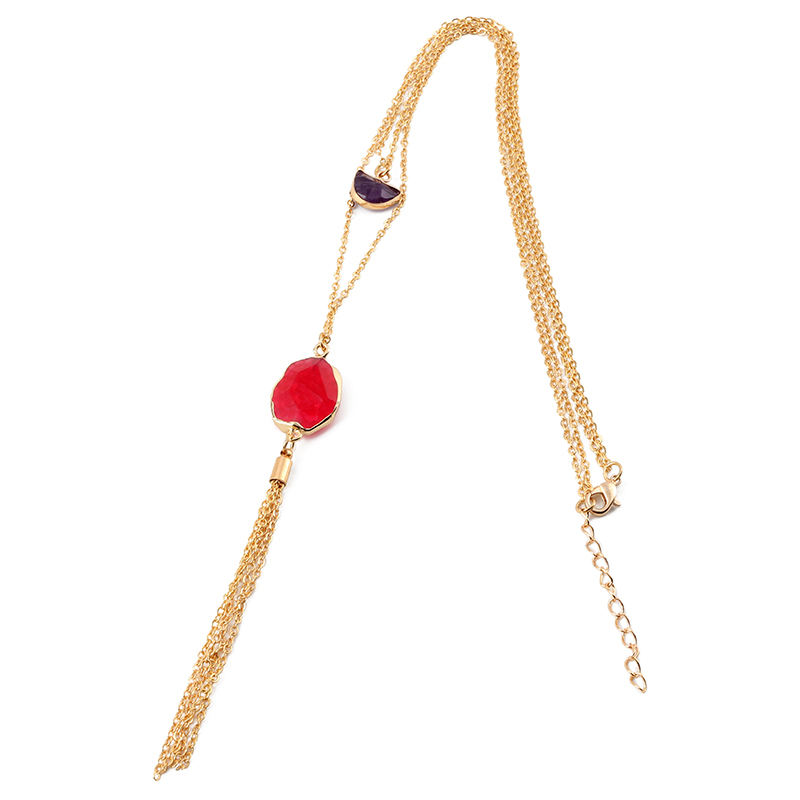 Wholesale druzy red agate tassel pendant necklace