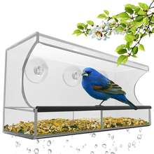 Outdoor Hanging Birdhouse Kits Window Bird Feeder with Strong Suction Cups & Seed Tray