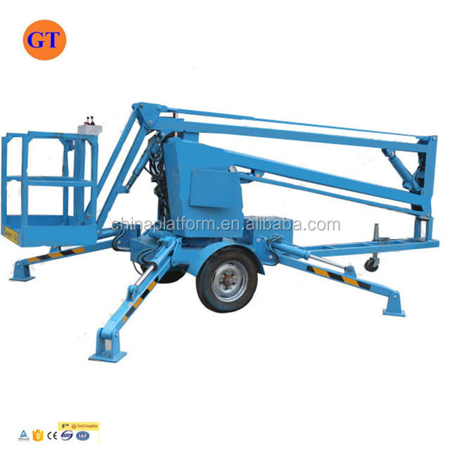 Hydraulic aerial work platform manlifts mounted towable boom lift
