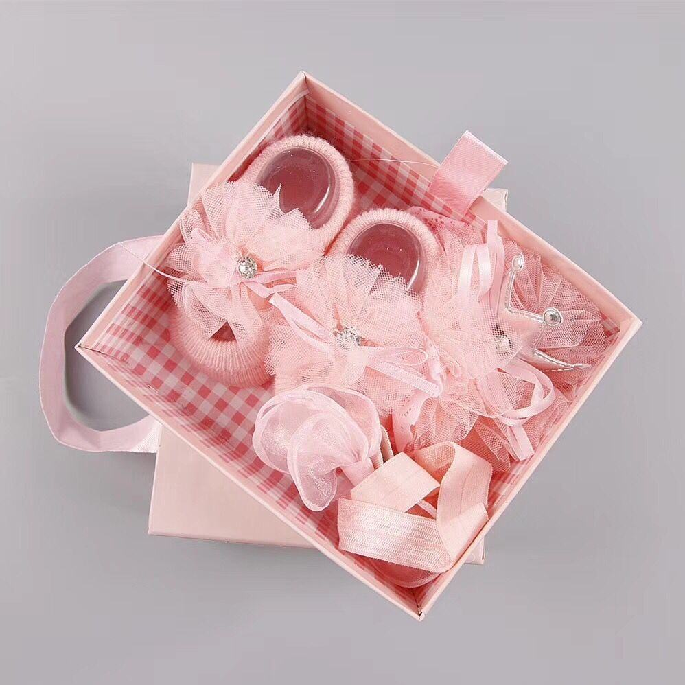 Mikatale L0037 New Baby Gift Set Newborn Gift Hair Accessories Socks Shoes Princess Gift Box