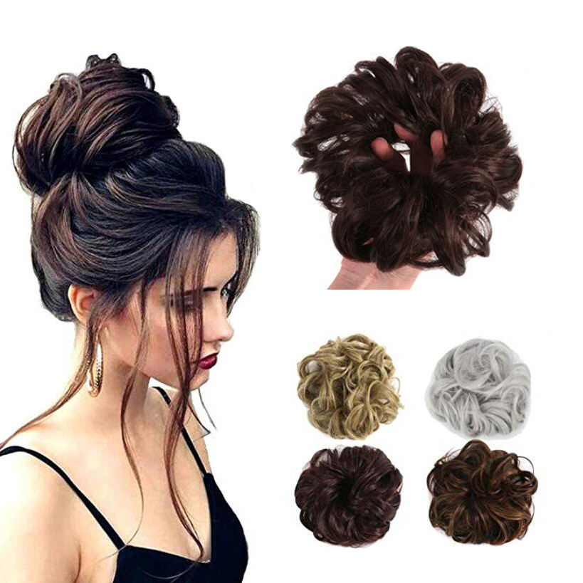 popular fashion design DIY hair style french curl hair bun chignon wholesale synthetic hair accessories