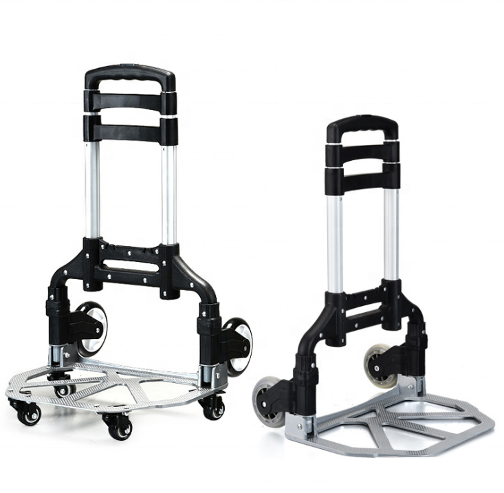ph75 Aluminum hand pull cart folding portable multifunctional home trailer foldable trolley with small wheels