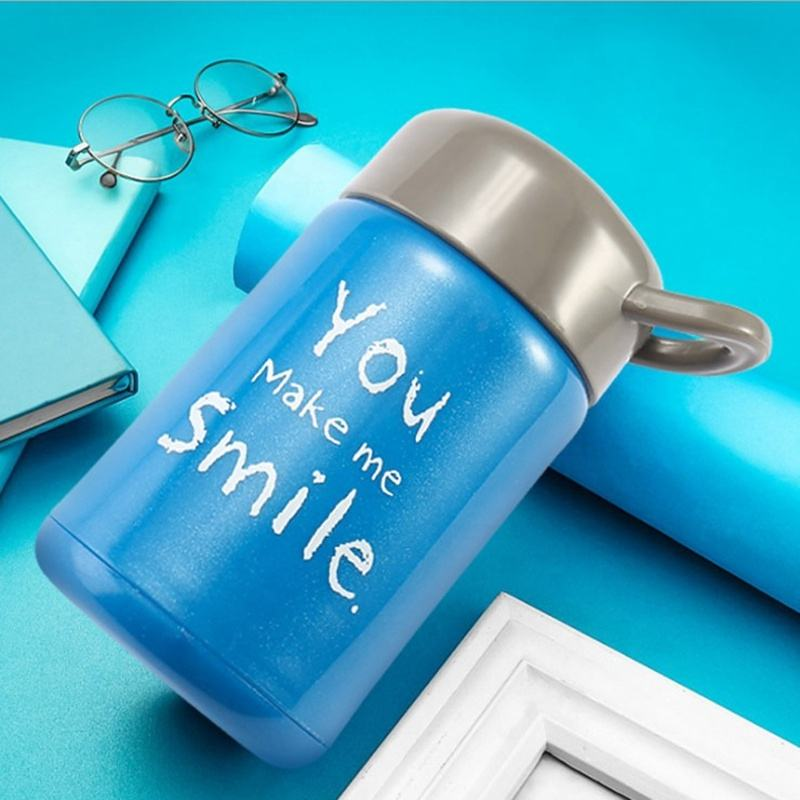 Hot Sale Blue Colour Printing Design Wide Mouth Water Bottle