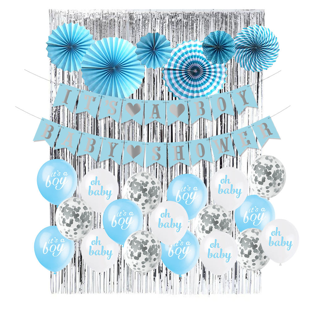 It's a Boy Baby Shower Party Supplies Blue And Sliver Paper Fan Banner Oh Bbay Balloons For Boy Baby Shower Decorations