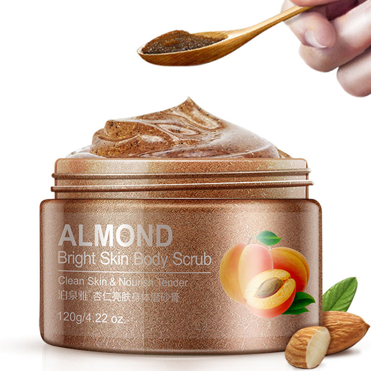 Private label cosmetic beauty product skin care almond coffee color body scrub for exfoliator