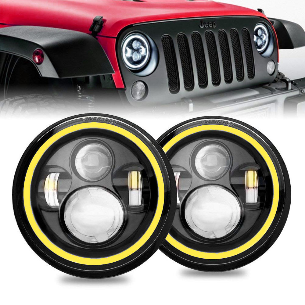 "7"" Wrangler LED Headlights with Amber Turn Signal Light and Halo Angel Eyes Design for Wrangler JK LJ CJ TJ,45w LED Headlights"